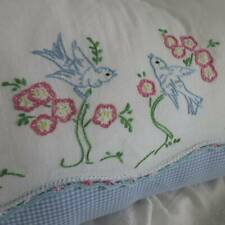New listing Sentimental Bluebirds Embroidered Vintage Lumbar Pillow Sham 20x12