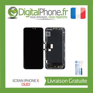 ECRAN LCD OLED RETINA POUR IPHONE X IPHONE 10 NOIR ASSEMBLÉ+OUTILS+JOINT -TVA-