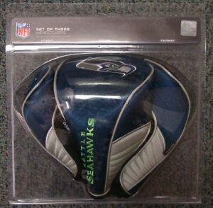 SEATTLE SEAHAWKS EMBROIDERED LOGO DRIVER FAIRWAY HYBIRD SET 3 HEADCOVERS 👀🏈