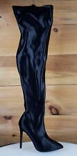 Beverly Black Stretch Spandex OTK Thigh Stocking High Heel Boots 6-11