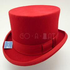 CLASSIC Wool Felt Men Topper Top Hat Victorian Tuxedo Gentlemen | Red | M L XL