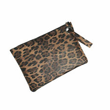CLUTCH BAG PURSE ANIMAL PRINT WITH WRIST STRAP LINED INTERIOR WRISTLET BROWN