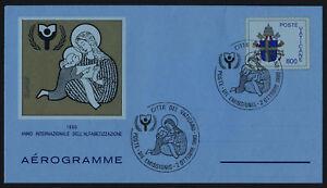 Vatican 1990 - 800L Aerogram FDC - International Litteracy Year