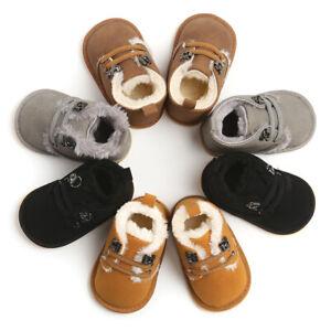 Newborn Baby Boy Girl Crib Shoe Infant Toddler Faux Fur PreWalker Boots Trainers
