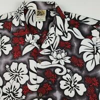 Winnie Fashion button front Hawaiian floral shirt short sleeves Men's L Large