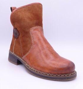 Rieker 73064-22 Women's Brown Tan Fleece Lined Ankle Boots Size UK 5 EUR 38