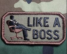 LIKE A BOSS TACTICAL ARMY MORALE USA ISAF MILITARY BADGE WOODLAND HOOK PATCH