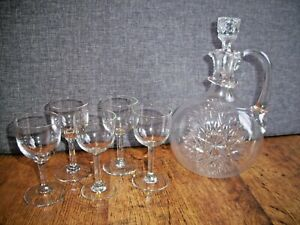 Vintage Cut Glass Lidded Decanter with Five Sherry Glasses (Snowflake Design)