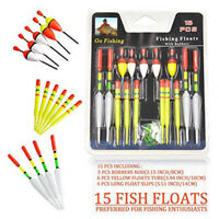 15 Pcs Fishing Assorted Float Set Selection Kit Course New