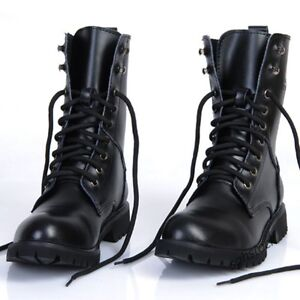 New Men Punk Military Combat Boots Lace Up Motorcycle Trucker Biker Casual Shoes