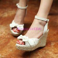 Summer Women's Open Toe Shoes Wedge Heel Ankle Strap Slingbacks Sandals Platform
