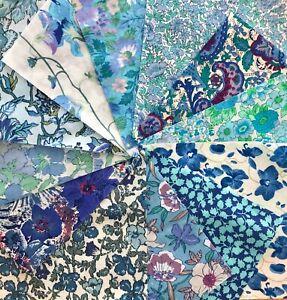 """Liberty Vintage Tissu Classique /""""Lagos Laurel bleu/"""" 50 x 138 cm Tana Lawn"""