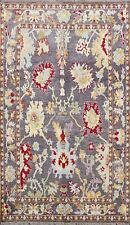 Geometric Floral Charcoal Oushak Turkish Vegetable Dye Area Rug Hand-knotted 5x8