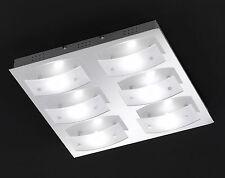 LED Deckenlampe Lampe Eckige LED Deckenleuchte flach in Chrom Wohnzimmer Lampe