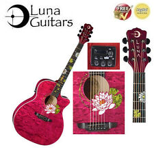 Luna Flora Series Lotus Custom Grand Concert Acoustic-Electric Guitar (Ltd Edn)