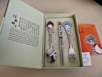 Chinese Beijing Opera Art Flatware Fancy Spoon Fork Chopsticks Host Gift Box
