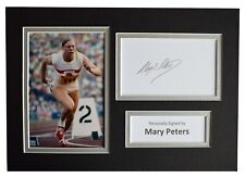 More details for mary peters signed autograph a4 photo mount display athletics aftal coa