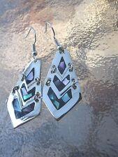 Handmade Abalone Alpaca Silver Earrings by Artesanas Campesinas Mexico haed001
