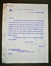 Signed 1902 USN Doc. - Sec. of Navy William H. Moody to Frank W. Bartlett