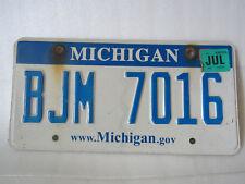 Michigan License Plate - Blue Banner White Website .Gov - BJM 7016 - July 2012