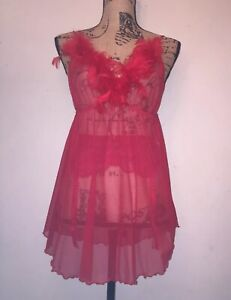 Vintage Sheer Red Fantasy Dress Feathers Womens Sexy Lingerie Teddy Medium FS