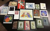 Vintage Christmas Greeting Card/Signed Art/Needlepoint/Metal Holiday Paper Lot