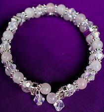 Bracelet Rose Quartz Gemstones with Austrian Crystals 2 strand Beaded
