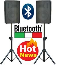 "COPPIA CASSE AMPLIFICATE ATTIVE KARAOKE DJ 900W 10"" BLUETOOTH + USB + 2 STATIVI"