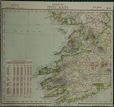 1883 LETTS MAP ~ IRELAND SOUTH WEST MUNSTER IRISH COUNTIES STATISTICS CORK KERRY
