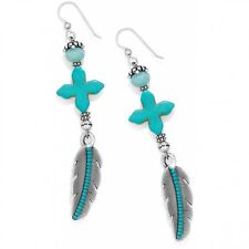 NWT Brighton LORETTO FEATHER Turquoise Howlite French Wire Earrings MSRP $46