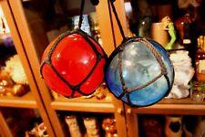 Vintage Fishnet Float Hand Blown Cobalt Blue and Deep R w/ Hanger Nautical Tiki