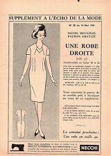 ▬► Patron Couture Écho de la Mode - 1961 N°20 - Taille 48 50 52 - Robe droite