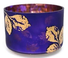 New Yankee Candle Midnight Fall Purple Gold Leaves Glass Large Jar Barrel Shade
