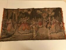 VINTAGE VICTORIAN OR REVOLUTIONARY DANCE SCENE TAPESTRY SMALL RUG TEXTILE