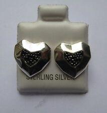 Sterling Silber Schwarz Cubic Zirkonia Eckig Herz ohrstecker
