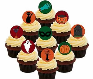Halloween Party Pack - 30 Edible Cup Cake Toppers, Standup Fairy Bun Decorations