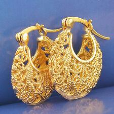 Vintage 9K Yellow Gold Filled Women's Hoop Earrings,20mm,F2529