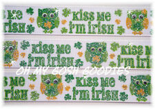 7/8 GLITTER KISS ME I'M IRISH HOOT OWLS ST PADDY GROSGRAIN RIBBON 4 HAIRBOW BOW
