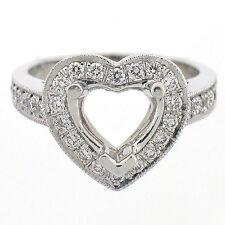Vintage Heart Shaped Diamond Semi Mount Engagement Ring Setting 0.65 Cts 14K