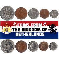 5 DUTCH COINS. DIFFERENT COINS, NETHERLANDS. FOREIGN CURRENCY, VALUABLE MONEY