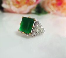 Solid 925 Sterling Silver 21.31ct Emerald Gesmtone & Shiny CZ Engagement Ring