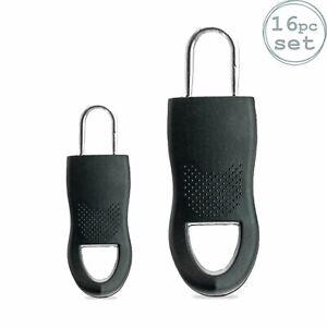 Pack of 16 Universal Zipper Fixers Zip Replacement 2 Sizes Black