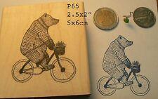 P65 Bear biking rubber stamp WM