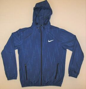 Nike Women's Dri-Fit Running Jacket Sz M Removable Hoodie Lightweight Blue