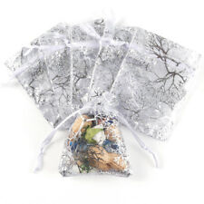 100 Organza Voile Jewelry Gift Favor Candy Bag Pouch Tree Print Wedding 9x7cm