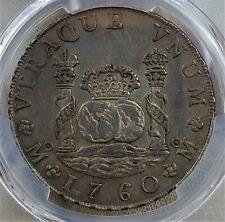 8 Reales 1760 MO-MM Carlos III Mexico Colonial HISPAN·ET IND·REX Rare AU / PCGS!