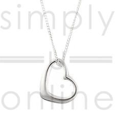 Silver Plated Open Love Heart Pendant & Chain Necklace Elegant Gift