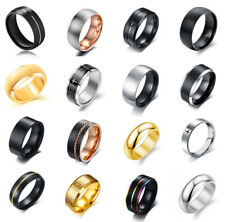 Men Women Fashion Punk Black Silver Gold Titanium Steel Ring Band Collections
