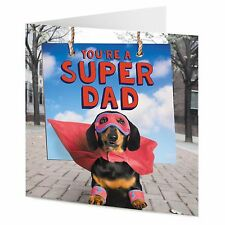 """""""YOU'RE un Super Dad"""" FUNNY Bassotto Cane Supereroe FATHER'S DAY DAD CARD"""