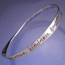 Fruit of the Spirit Bracelet Bangle Inspirational Message STERLING SILVER Quote